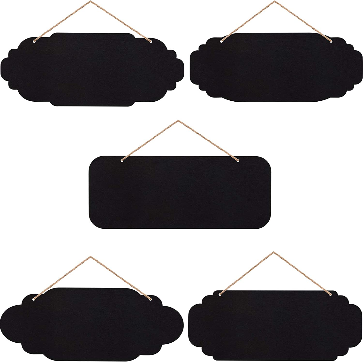 10 Pieces Unfinished Hanging Wood Sign Rectangle Blank Hanging Decorative Rectangle Hanging Wooden Oval Hanging Wooden Slices Banners with Ropes for Painting Writing DIY Crafts (Black)