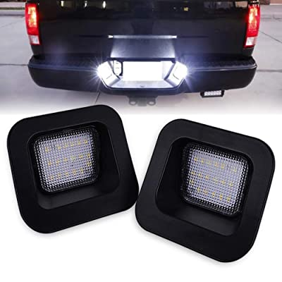 runmade Replacement for Dodge Ram 2003-2020 1500 2500 3500 Pickup Truck License Plate rear Bumper White Lights LED Lamps Clear Lens No Error: Automotive