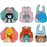 Lictin 6Pcs Baberos con mangas Conjunto de babero EVA impermeable babero de manga larga de bebé unisex para niño pequeño de 6 meses a 3 años de edad