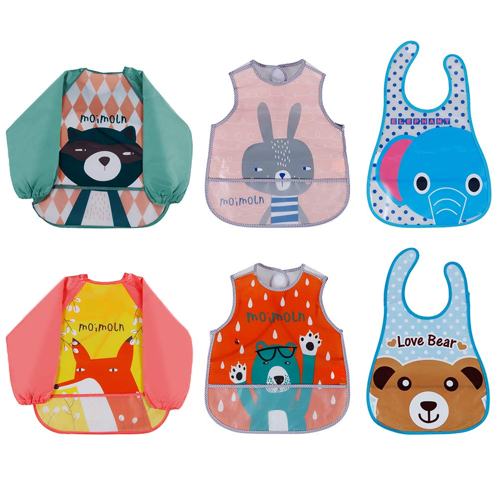 Lictin 6 Pack Sleeved Bib and Bibs set EVA Waterproof Unisex Baby Long Sleeve Bib for Infant Toddler from 6 Months to 3 years old