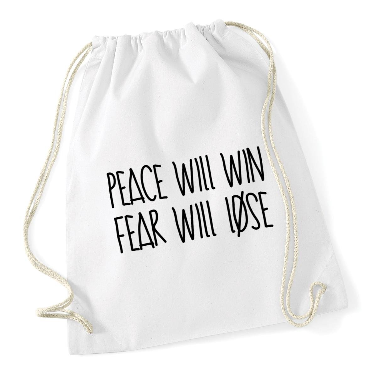 HippoWarehouse Peace will win and fear will lose Drawstring Cotton School Gym Kid Bag Sack 37cm x 46cm, 12 litres 7928-DSB-Black