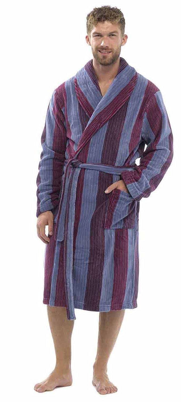Tom Franks Men's Striped Fleece Bath Robe Dressing Gown HT716