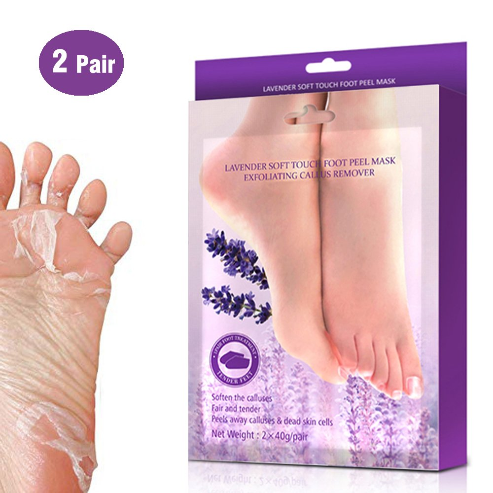 Foot Peeling Mask, Kosie 2 Pairs Lavender Exfoliating Calluses and Dry Dead Skin Remover Rough Heels Repair, Keeping Your Feet Baby Soft, Moisture and Smooth Kosiehouse Feetmask01