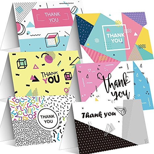 s, 24 Pack 6 Geometric Graphic Pattern Thank You Card Design for School, Office, Business Thanks, Blank Inside, Greeting cards with Envelopes and Stickers, 4×6 Inches ()