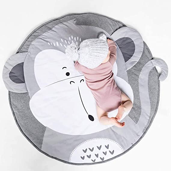 Jialisen Baby Playmats Round Cotton Nursery Rug Baby Crawling Mat Game Blanket Animals Mats Soft Carpet Kids Rug for Kids Room Home Decoration 35.5 x35.5 Inches Giraffe
