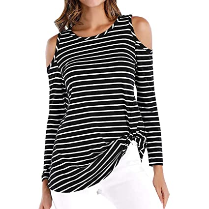0aa31abc4d6 succeedtop Womens Cold Shoulder Long Sleeve Twist Knot Blouses Striped T  Shirt Tops Pullover Casual Sweatshirt