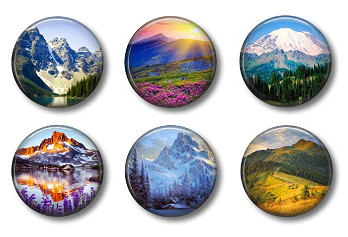 Cute Locker Magnets For Teens - Mountain Scenes Magnets - School Supplies - Whiteboard Office or Fridge - Funny Magnet Gift Set (Mountains)