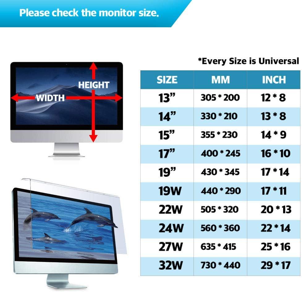 acr/ílico contra Azul Claro Protector de Pantalla para el Ordenador port/átil BozaBoza El Filtro Anti Azul Claro para el Ordenador port/átil port/átil Monitor 17 Pantalla Ancha