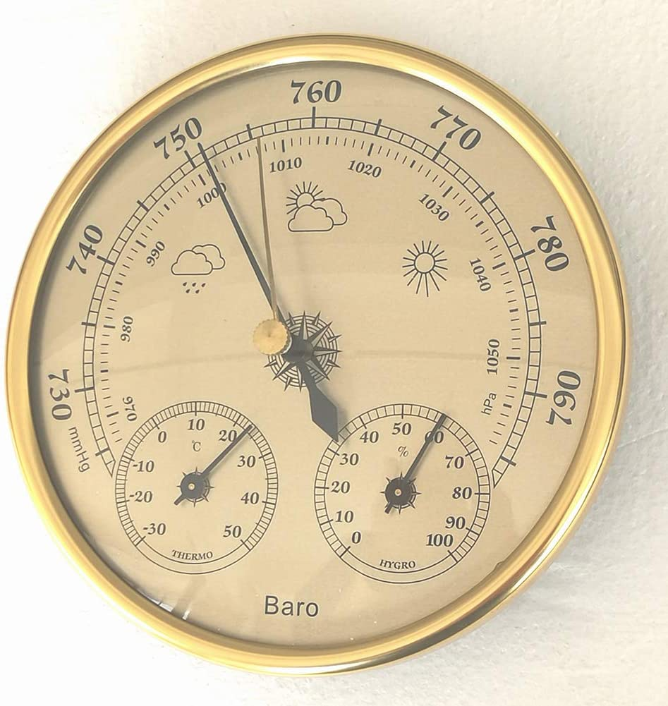Ocamo 3 in 1 Wall Mounted Household Thermometer Hygrometer High Accuracy Pressure Gauge Weather Instrument Barometers