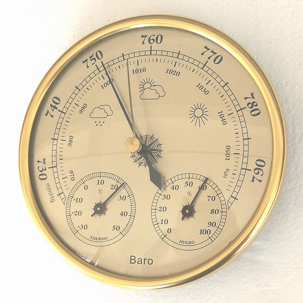higr/ómetro term/ómetro instrumento de clima de aire medidor de presi/ón FairOnly bar/ómetro de pared de alta precisi/ón