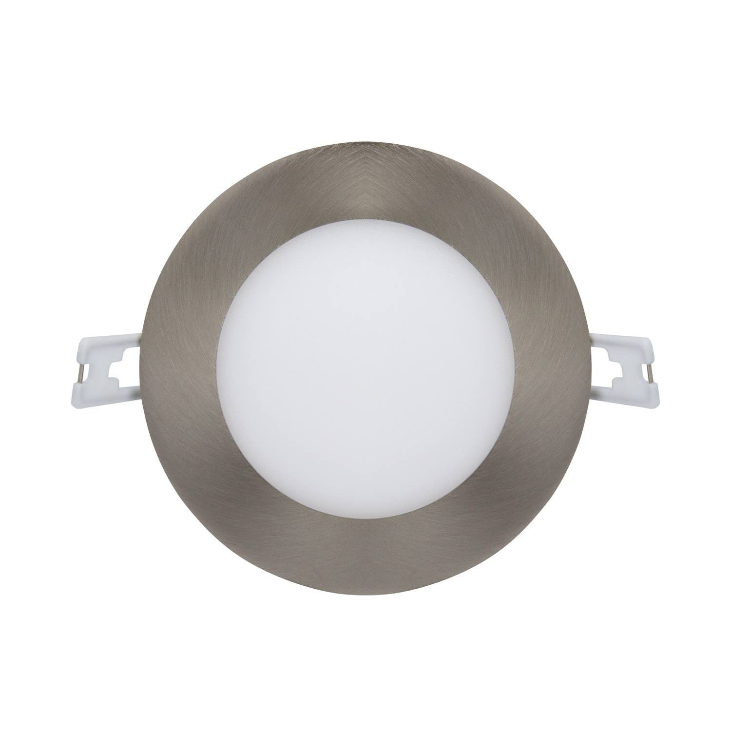 LED Recessed Light Fixture 4 inch Round with Driver, 5000K Daylight, 12W, 720 Lumens, 120V, Low Profile, Dimmable, Energy Star and IC Rated, Brushed Nickel Trim, 1 Pack