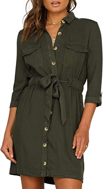 Happy Sailed Damen Langarm V Ausschnitt Elegant Kurz Blusenkleid Hemdkleid Shirt Kleid Oberteil Kleid Minikleid mit Gürtel S XL