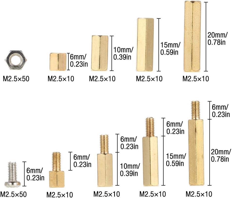 Entretoises en laiton filet/ées m/âles femelles hexagonales M 2,5 PCB Entretoise dentretoise de colonne hexagonale en laiton de 180 pi/èces Gobesty Entretoise hexagonale en laiton M 2,5