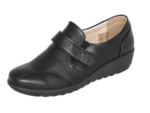 Zapatos de Mujer Mocasines Ligero, Cuero de Imitación y Forrado con Cuero, Zapatos Cómodo sin Cordones - con Cierre de Velcro: Amazon.es: Zapatos y ...