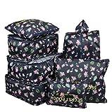 7 Set Travel Packing Organizer,Waterproof Mesh Durable Luggage Travel Cubes,1 Shoe Bag (Cyan Flamingo)