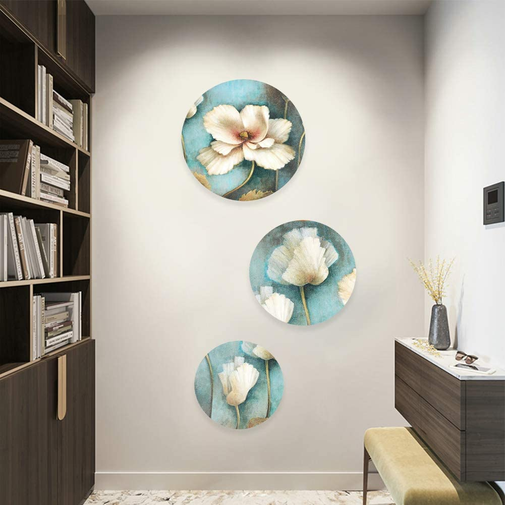 Circle 3PCS Cotton Stretched White Blank Canvas,Double Acrylic Primed Painting Canvas with Wooden Frame For Painting Acrylic Pouring Oil Paint Wet Art Media Artist