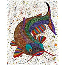 Catfish All-Occasion Note Cards and Greeting Cards - 12-Pack with White Envelopes