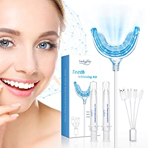 Teeth Whitening, Luckyfine Teeth Whitening Kit 16 LED Accelerator Lights, including 30ml Gel, Home Teeth Whitener System