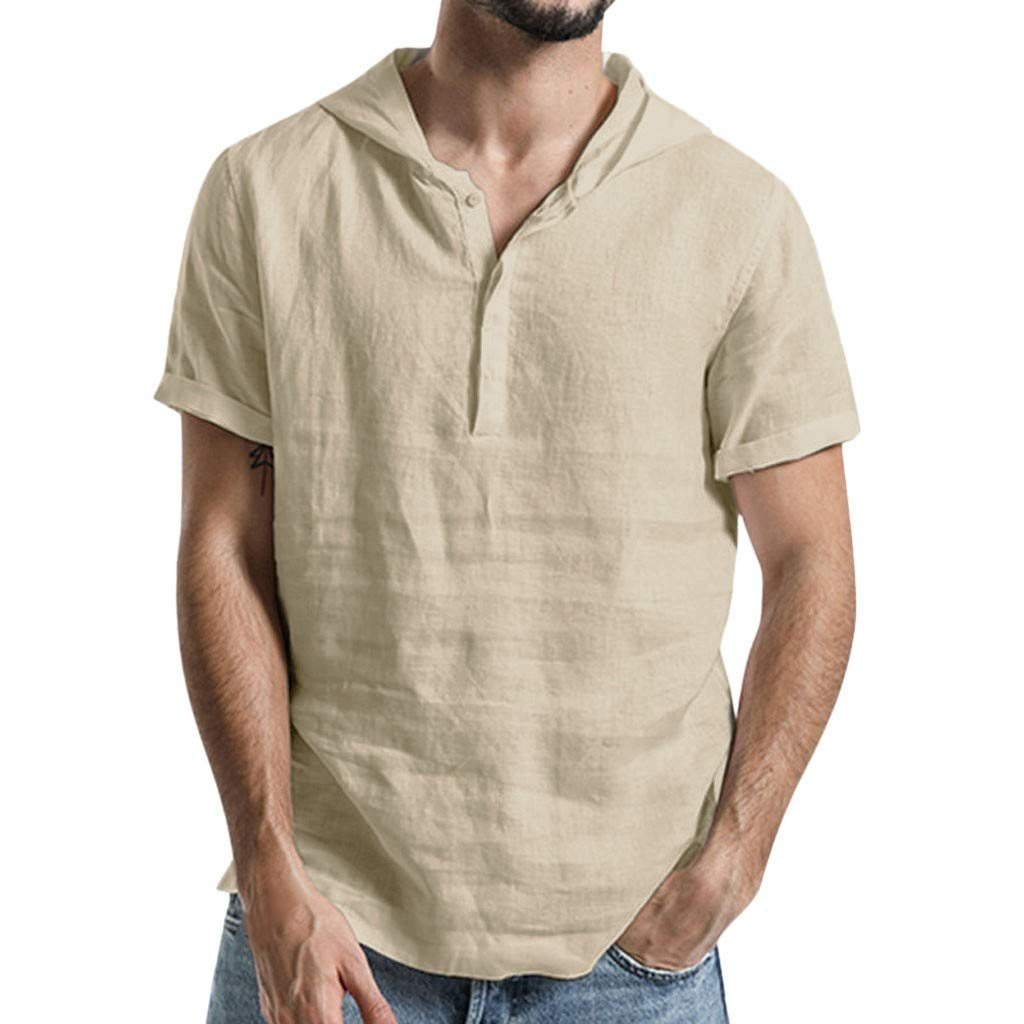 Mr.Macy Mens Baggy Cotton Linen Solid Color Short Sleeve Hooded T Shirts Tops Blouse