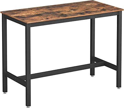 VASAGLE ALINRU Dining Table, Bar Table with Solid Metal Frame,  Multifunctional Desk for Dining Room or Living Room, Industrial Accent  Furniture, ...