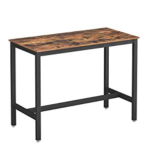 VASAGLE ALINRU Dining Table, Bar Table with Solid Metal Frame, Multifunctional Desk for Dining Room or Living Room, Industrial Accent Furniture, Rustic Brown ULBT91XV1