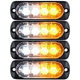 XT AUTO 4-LED Amber White Waterproof Emergency Beacon Flash Caution Strobe Light Bar Surface Mount 16 different flashing Car SUV Pickup Truck Van SUV ATV UTV Jeep 4-pack