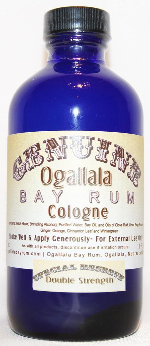 4 oz Genuine Ogallala Bay Rum Cologne – SPECIAL RESERVE Double Strength Cologne comes in a cobalt blue bottle.