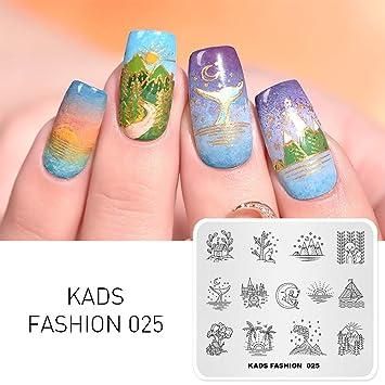 Amazon.com : KADS Nail Art Stamp Template Moon Sun Mountain Fashion ...