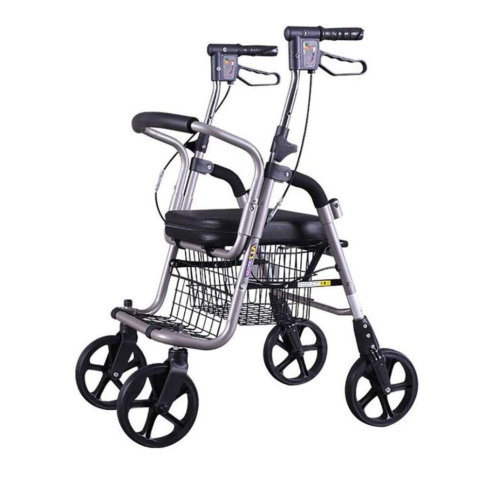 Walker Rollator with Seat and Foot Rest,Adjustable Handle Height with Upholstered Seat and Lower Basket Double Safety Brake Auxiliary Walking Safety Walker (Color : Black A)