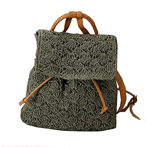 GAOQQ Summer Sen Series Shoulder Bags Straw Bag Leisure Beach Bolsos,Beige Green