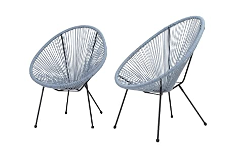 Terrific Century Modern Outdoor Patio Gift Ideas All Weather Wicker Indoor Outdoor Round Lounge Chair Set Of 2 Patio Chair Cm 0103 Blue Grey Frankydiablos Diy Chair Ideas Frankydiabloscom