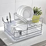 #7: Glanzhaus Mordern Design 2-Tiered Steel Rust Proof Dish Drying Rack, Removable Drying Tray & Cutlery Holder (White)