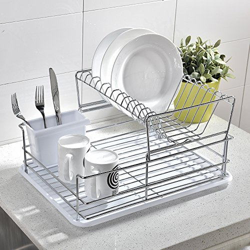 Glanzhaus Mordern Design 2-Tiered Steel Rust Proof Dish Drying Rack, Removable Drying Tray & Cutlery Holder (White)
