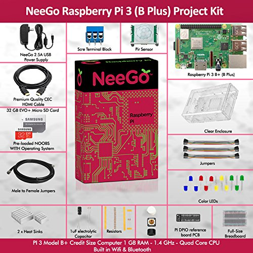 Neego Raspberry Pi 3 B+ (B Plus) Ultimate Education Starter Kit, B+ Motherboard, 32-GB Micro SD Card Preloaded With Noobs, 10-Piece Education Kit, Heatsinks, Clear Case, 2.5A Power Supply, HDMI Cable, by NeeGo (Image #1)