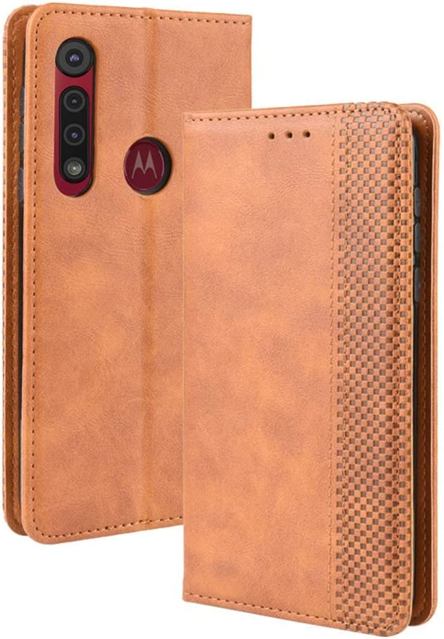 For Motorola One Macro Slim Real Genuine Soft Leather Pull Tab Slide In Pouch Sleeve Case Cover Brown DOT