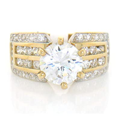 3da5d6f69dd57 10k Solid Yellow Gold White CZ Engagement Ring Jewelry   Amazon.com