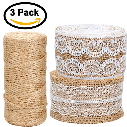 FASOTY [2 Pack] 156 Inches Burlap Ribbon Roll White Lace Trims Tape Natural Jute and [1 Pack] 300 Feet Natural Jute Twine String for DIY Handmade Art Crafts Wedding Lace Linen Gift Baskets (Burlap String)