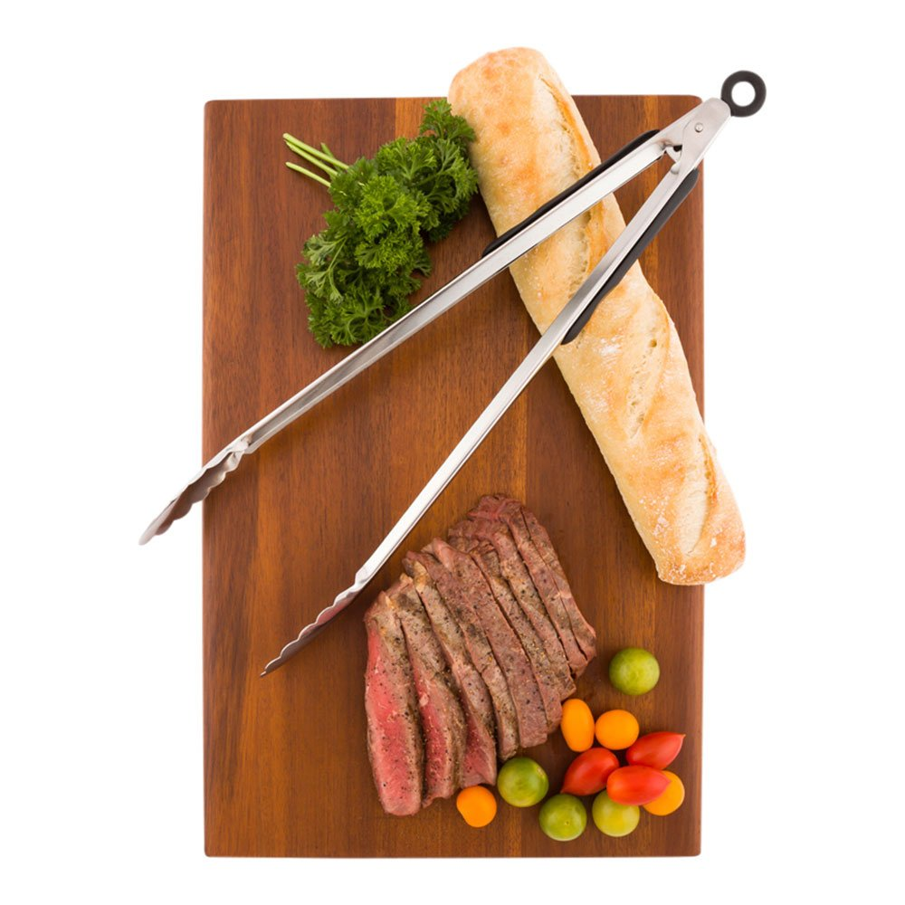 """Commercial Tongs with Rubber Grip - Large 16"""" Heavy Duty Kitchen Tongs - Stainless Steel - Let Lux - 1ct Box - Restaurantware"""