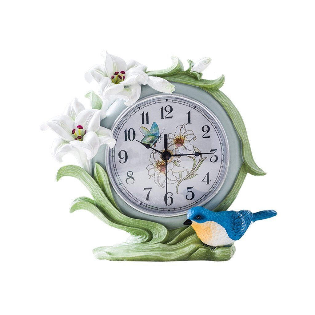 ZAZAZA Health UK Clock- Clock Pastoral Single-Sided Fresh White Lily Flower Resin 3D Modeling Romantic Mute Classical Sitting Bell Welcome