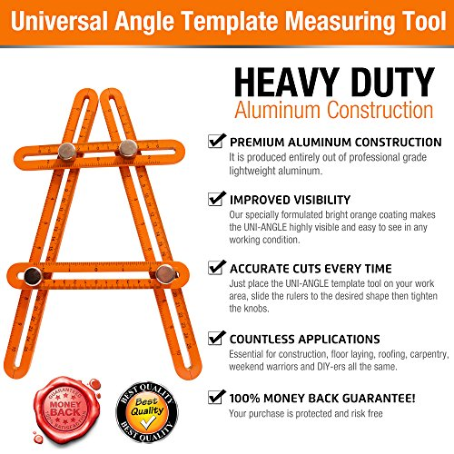 Universal Angle Template Measuring Tool Ruler, Bright Visibility ORANGE Heavy Duty Premium All Aluminum Construction, Easy Adjustable Anglerizer Template Tool for Masonry Builders Handymen Carpenters by UNI-ANGLE (Image #5)