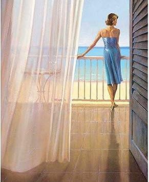 Ygghj Pintura Al óleo Mujer Con Revestimiento Azul Mirando Al Mar Pintura De Bricolaje Por Números Pintura Con Pincel De Pigmento Pintura Al óleo Digital Creativa Pintada A Mano Pintura De Bricolaje