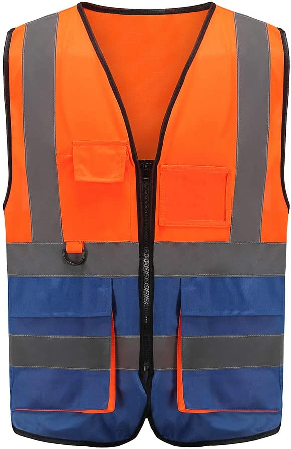 Medium, orange/&blue Multiple colors Class 2 hi vis Zipper Front High Visibility vest Hi Vis Executive Vest Waistcoat with Phone /& ID Pockets Yellow Orange 2 Two Tone