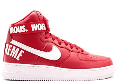 supreme nike air force 1 high red and white blood