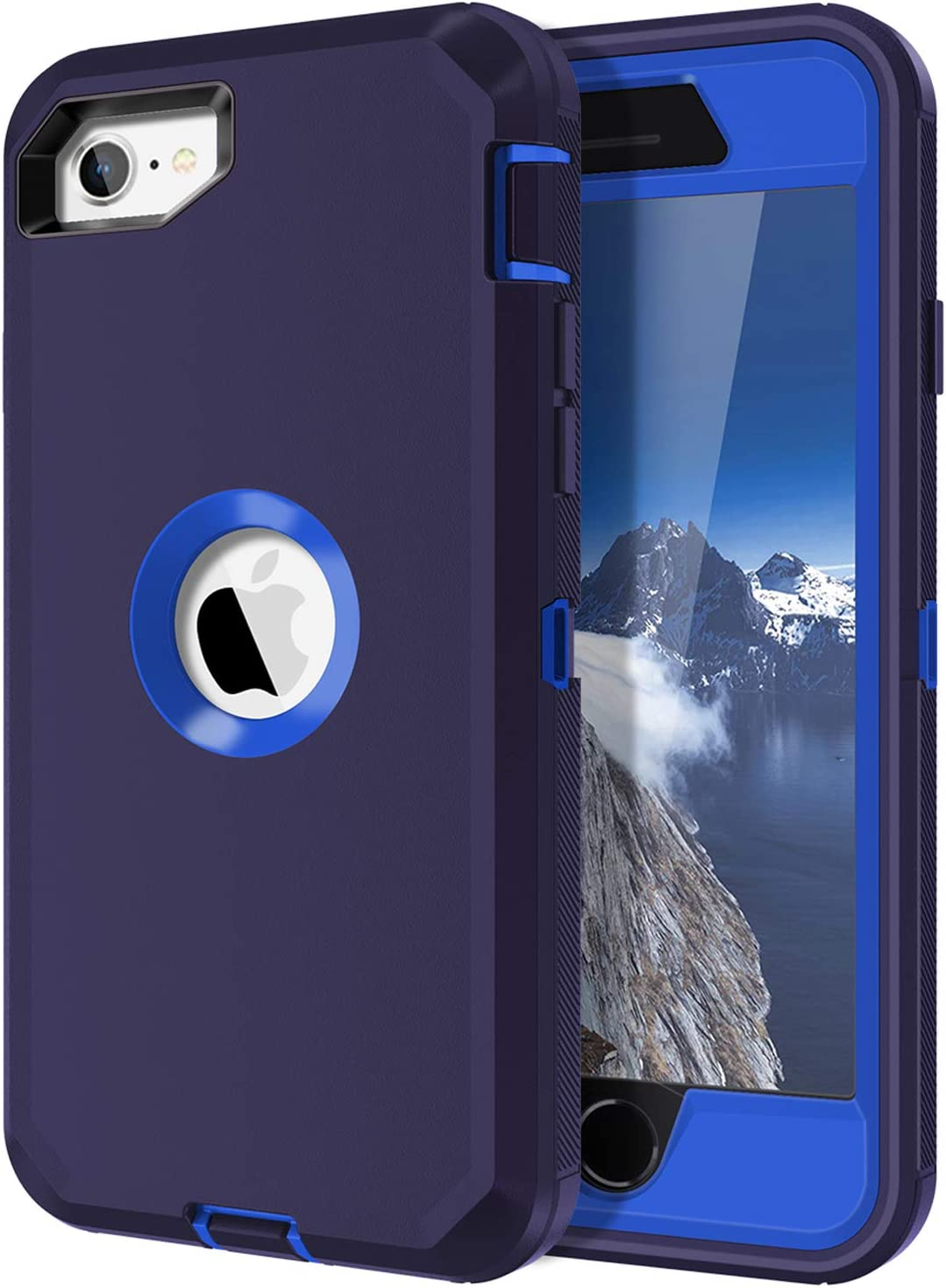 I-HONVA for iPhone SE 2020 Case Built-in Screen Protector Shockproof Dust/Drop Proof 3-Layer Full Body Protection Rugged Heavy Duty Durable Cover Case for Apple iPhone SE (2nd Gen) 4.7-inch, Navy Blue