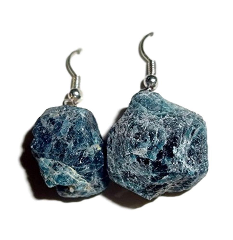 1 Pair Raw Blue Apatite Natural Free Form Crystal Healing Gemstone Earrings
