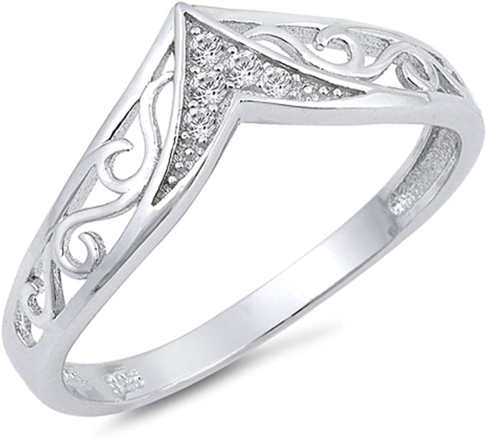 CloseoutWarehouse Sterling Silver Swirl Design Heart Ring
