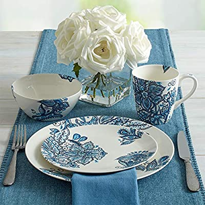 Pfaltzgraff 5229618 Arden 16-Piece Porcelain Dinnerware Set Service for 4 Blue/White
