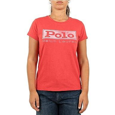 60e29016142 Ralph Lauren T-Shirt col Rond Polo Rouge Femme  Amazon.fr  Vêtements et  accessoires