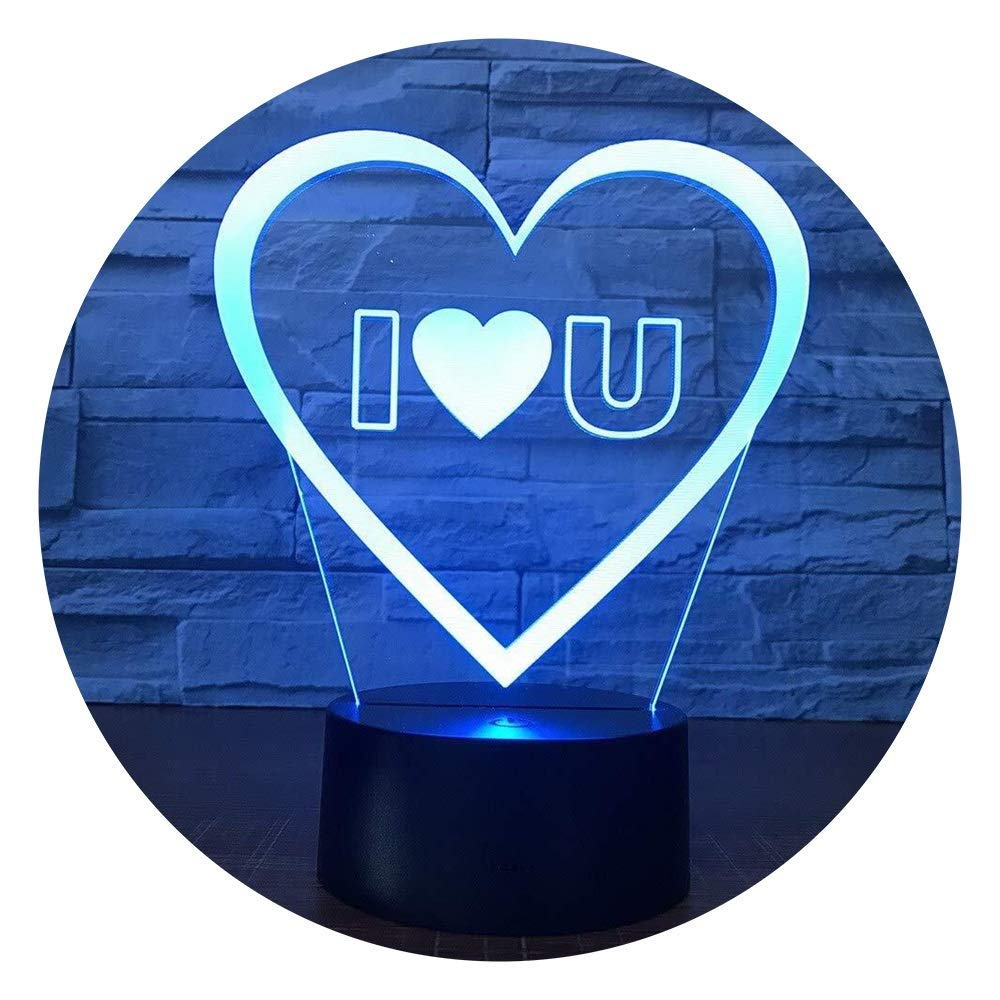 JINXUXIONGDI Visual Stereo Vision 3D Lead Me Love You Sweet Mood People Night Light Acrylic USB Light Romantic Decoration Colorful Night Light Girlfriend Anniversary Party Gift Children's Decoration