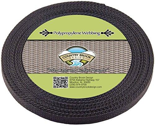 Country Brook Design | Black Polypropylene 1/2 Inch Webbing (25 Yards)
